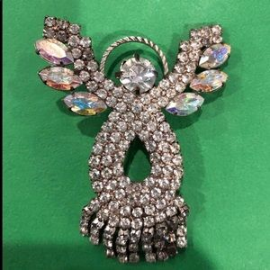 Angel rhinestone brooch